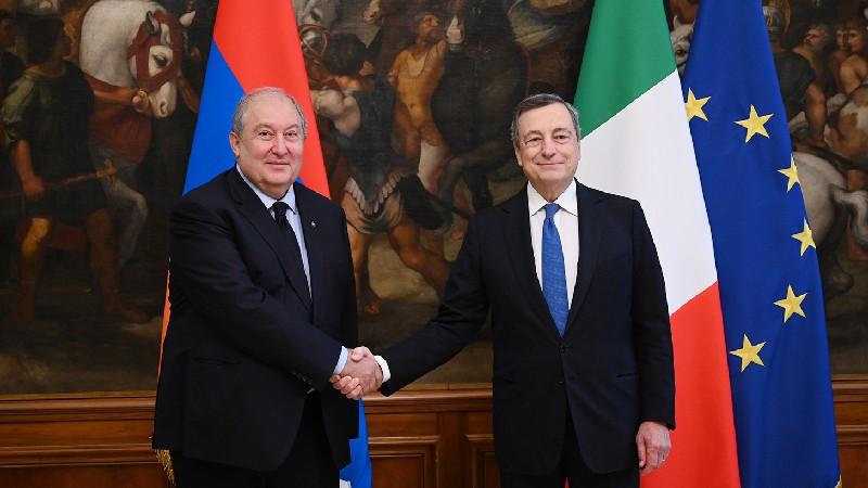 Արմեն Սարգսյանը հանդիպել է Իտալիայի նախարարների խորհրդի նախագահ Մարիո Դրագիի հետ (տեսանյութ)