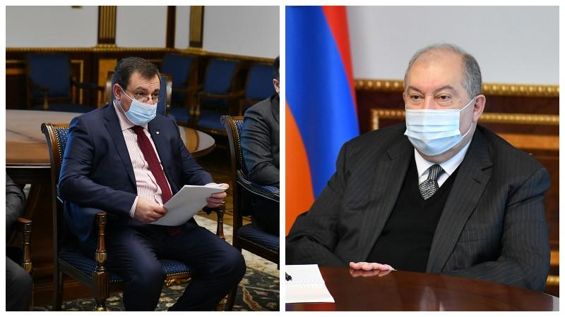 Արմեն Սարգսյանը հանդիպել է Ռուբեն Վարդազարյանին. ԲԴԽ նախագահը կառույցի դիրքորոշումն է հայտնել դատական օրենսգրքի փոփոխությունների վերաբերյալ (տեսանյութ)