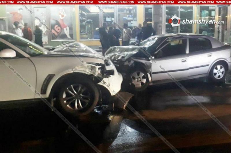 Երևանում բախվել են անհատ ձեռներեցի Infiniti-ն և ոստիկանության զորքերի ծառայողի Opel-ը․ կա 6 տուժած