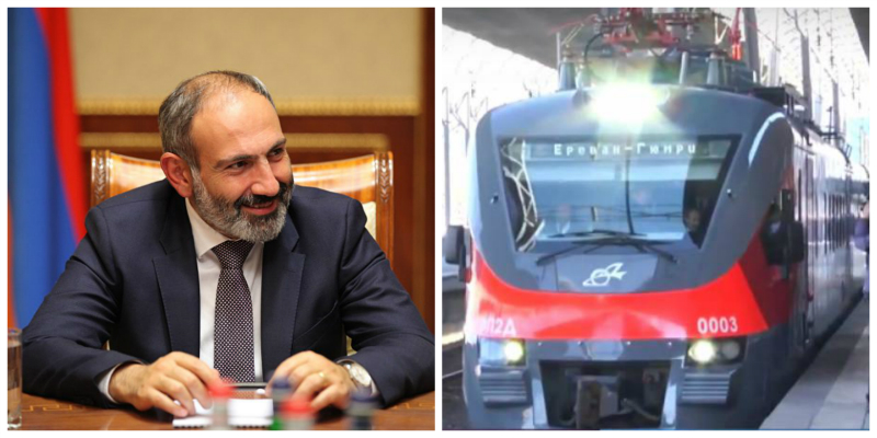 Երևան-Գյումրի երթուղու նոր էլեկտրագնացքի առաջին ուղևորը Նիկոլ Փաշինյանն է