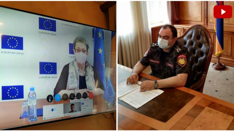 ՀՀ Ոստիկանապետը տեսակապի միջոցով զրուցել է ՀՀ-ում ԵՄ դեսպանի հետ․ քննարկվել են ԵՄ-ոստիկանություն համագործակցությանը վերաբերող հարցեր (տեսանյութ)