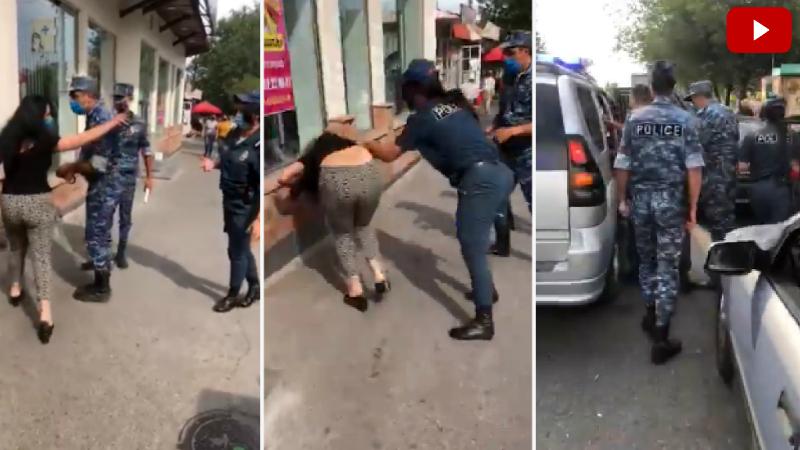 Ոստիկանները մոտեցել են կնոջը ու խնդրել դիմակ դնել․ կինը հարձակվել է ոստիկանների վրա և հայհոյախառը արտահայտություններով փորձել հեռանալ (տեսանյութ)