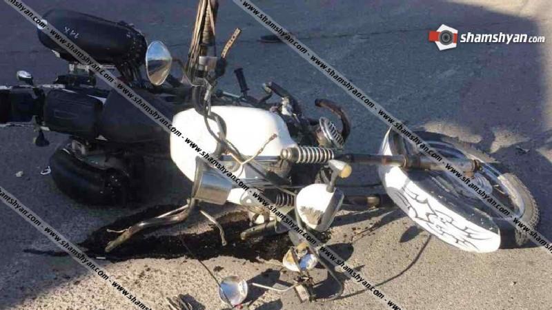 Երևանում բախվել են Mitsubishi Pajero-ն ու մոտոցիկլը. մոտոցիկլավարն ու նրա 4-ամյա ուղևորը հոսպիտալացվել են (լուսանկարներ)