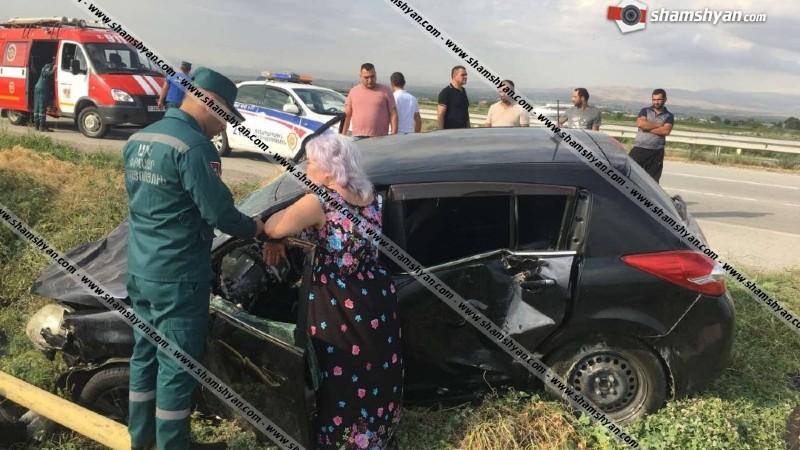 Երևան-Երասխ ճանապարհին Nissan Tiida-ն բախվել է Opel--ին, ապա գազատար խողովակին. 5 վիրավորների մեջ կան երեխաներ