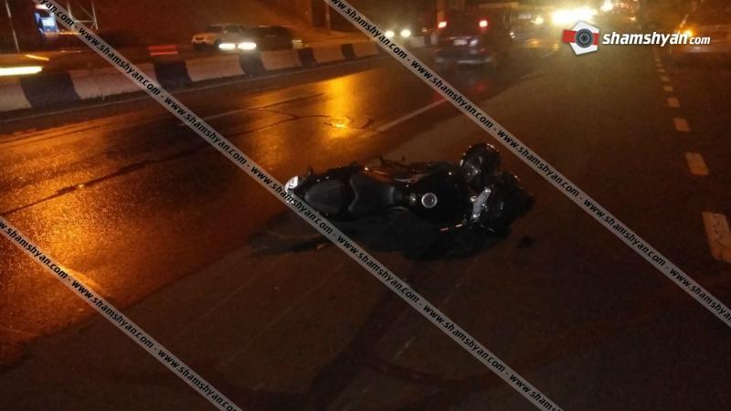 Մյասնիկյան պողոտայում բախվել են BMW մակնիշի ավտոմեքենան և մոտոցիկլը․ մոտոցիկլավարը հոսպիտալացվել է