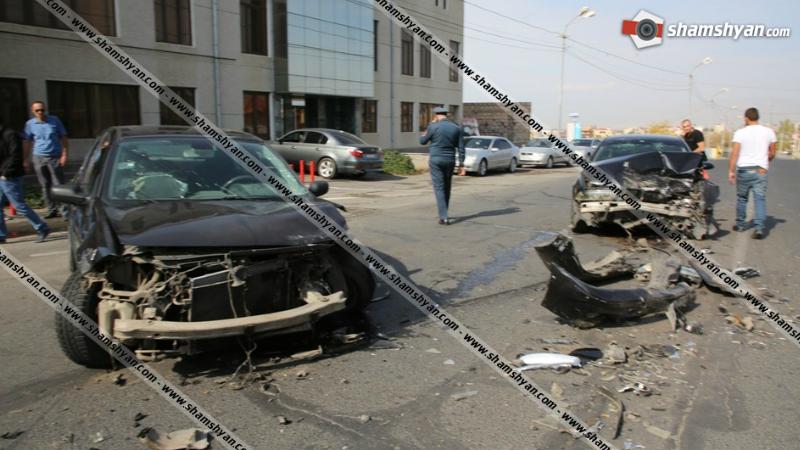 Խոշոր ավտովթար Երևանում. Բագրևանդի փողոցում բախվել են BMW-ն ու Renault Megane-ը․ կան վիրավորներ