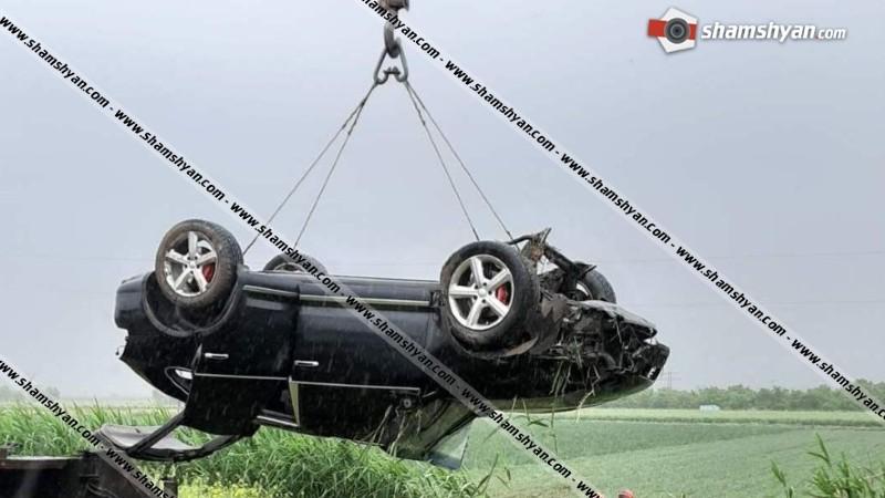 Խոշոր ավտովթար Արմավիրի մարզում. Porsche Cayenne-ը, գլխիվայր շրջվելով, հայտնվել է դաշտում