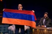 Гарик Мартиросян с развеивающимся флагом Армении в передаче «Вечерний Ургант» (видео)