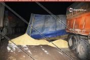 Արագածոտնի մարզում 24 տոննա ցորենով բարձված КамАЗ մակնիշի ավտոմեքենան կողաշրջվել է