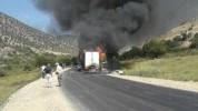 Մ-2 միջպետական նշանակության ավտոճանապարհին բեռնատար ավտոմեքենա է այրվում (լուսանկարներ)
