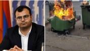 Այրել են մայրաքաղաքի Թումանյան եւ Նալբանդյան փողոցների խաչմերուկում տեղադրված 4 աղբամաններ...