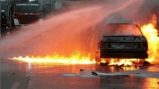 Ազատության պողոտայում մեքենան բախվել է ծառին ու բռնկվել